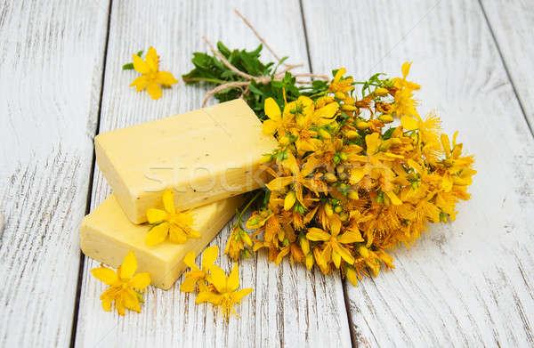 St. John's wort flowers and soap Stock photo © almaje