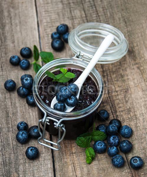 Jar mirtillo jam tavola foglia frutta Foto d'archivio © almaje