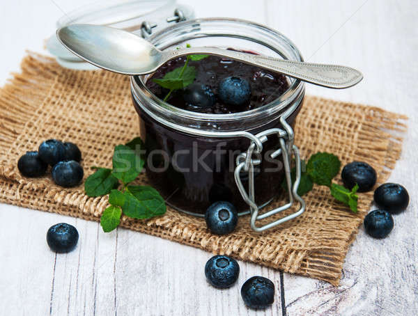 Jar with blueberry jam Stock photo © almaje