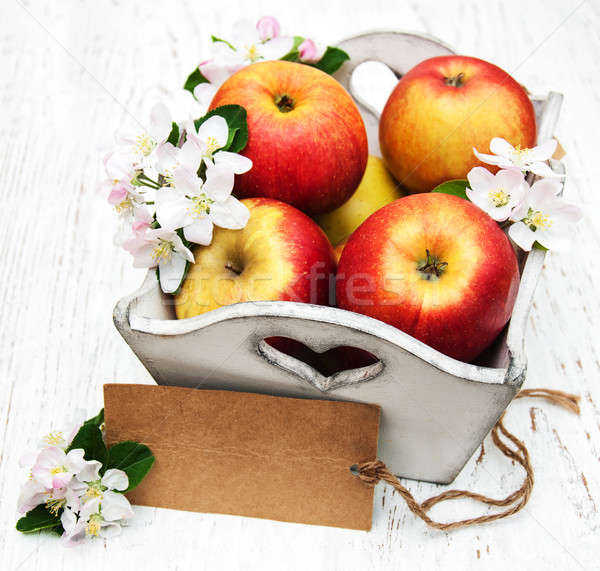 box with apples and apple tree blossoms Stock photo © almaje