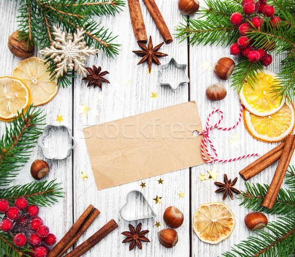 Stock fotó: Karácsony · üres · papír · dekoráció · kártya · sütés · hozzávalók