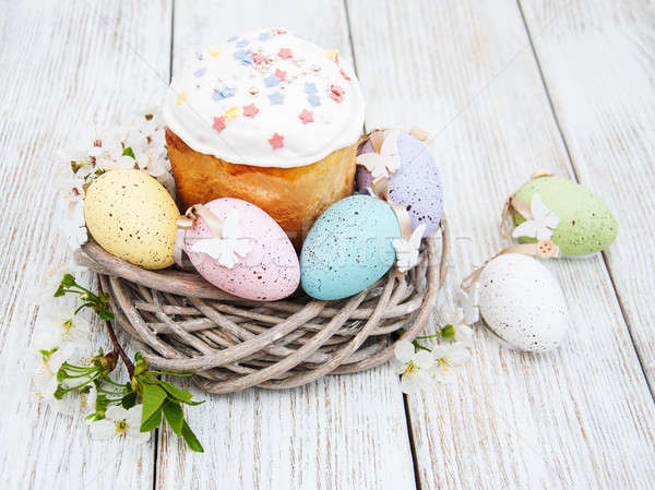 Easter bread and eggs Stock photo © almaje