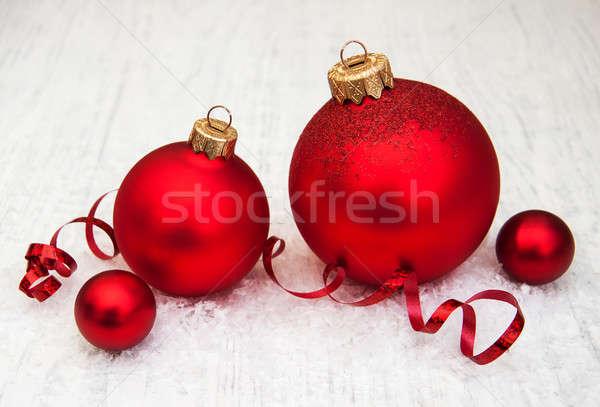 Photo stock: Rouge · Noël · ruban · bois · verre