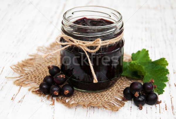 Black currants jam and fresh berries Stock photo © almaje