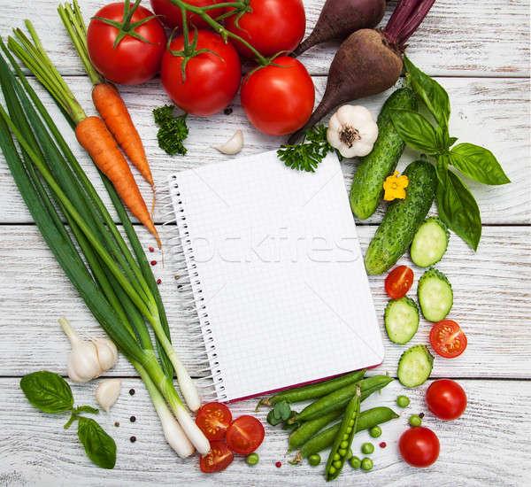 Recept planning ruw groenten ingrediënten voedsel Stockfoto © almaje