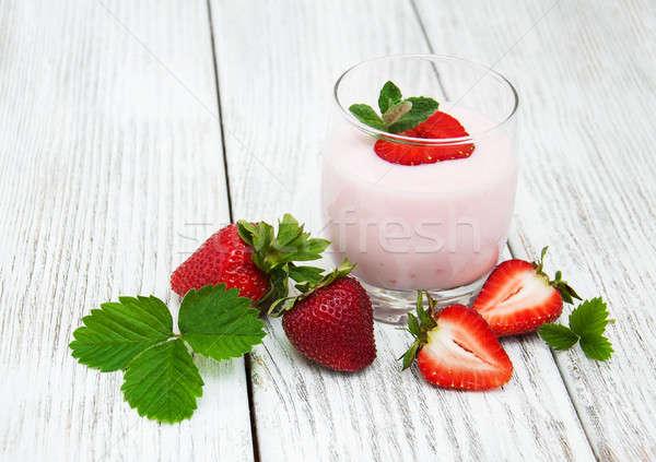Stock fotó: Joghurt · friss · eprek · öreg · fa · asztal · ital