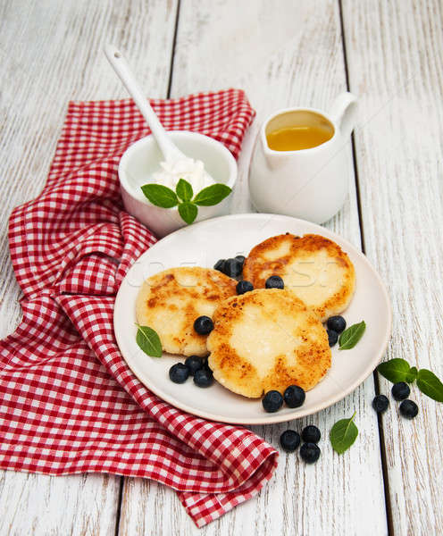 コテージチーズ パンケーキ ブルーベリー 木製のテーブル 食品 キッチン ストックフォト © almaje