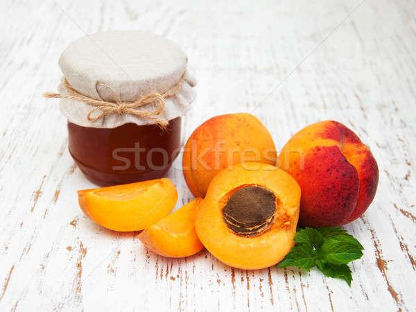 Foto d'archivio: Jam · vecchio · legno · foglia · frutta · sfondo