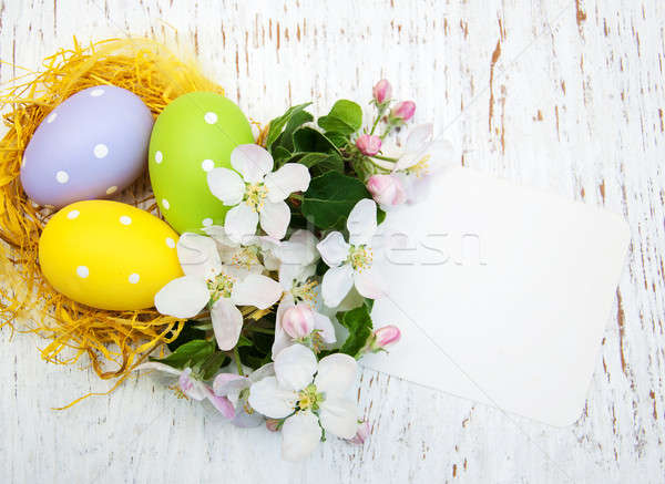 Nest with easter eggs Stock photo © almaje