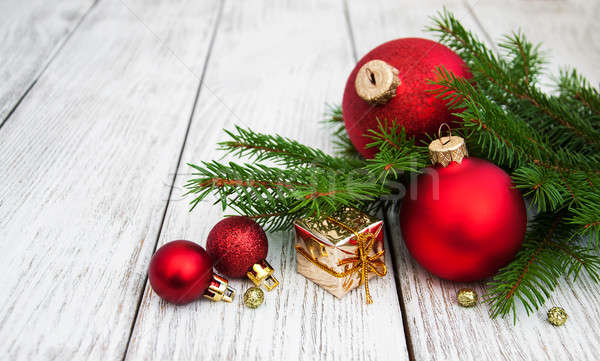 christmas fir tree with decoration Stock photo © almaje