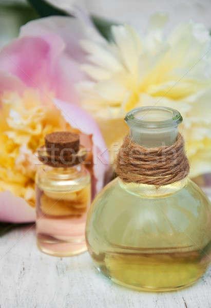 Virágok masszázs olajok fából készült test egészség Stock fotó © almaje