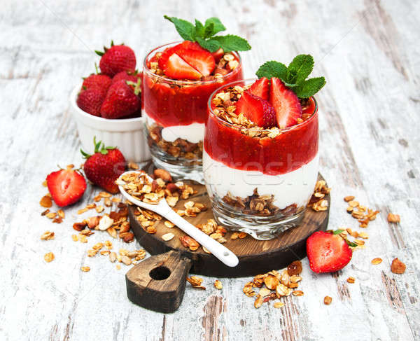 Yogurt and granola for breakfast Stock photo © almaje