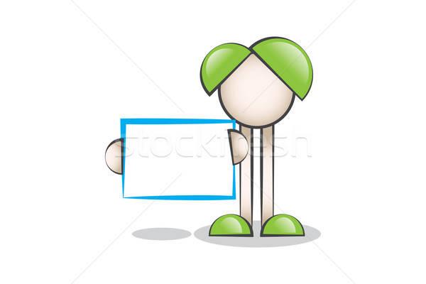 Mavi Mesaj Tahtası ve Çizgi Karakter Stock photo © alozar