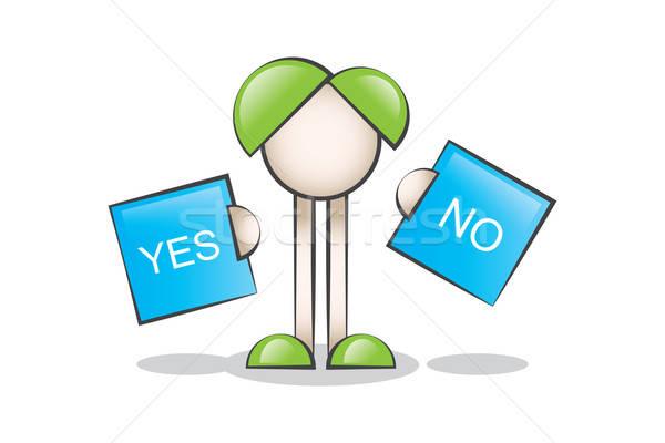 Seçim Yapmak ve Çizgi Karakter. Evet veya Hayır Stock photo © alozar