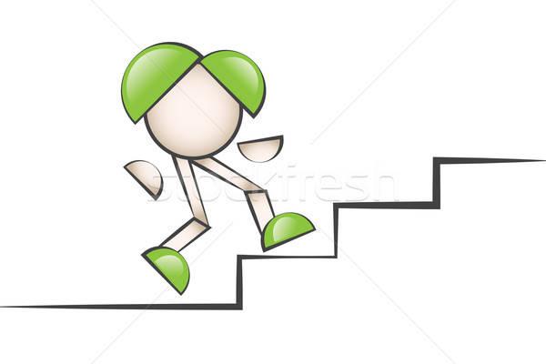 Merdiven çıkan çizgi karakter. Zorluklarla mücadele etmek. Stock photo © alozar