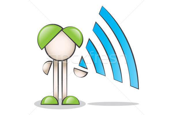 Kablosuz sembolü (wi-fi) ile Çizgi Karakter Stock photo © alozar