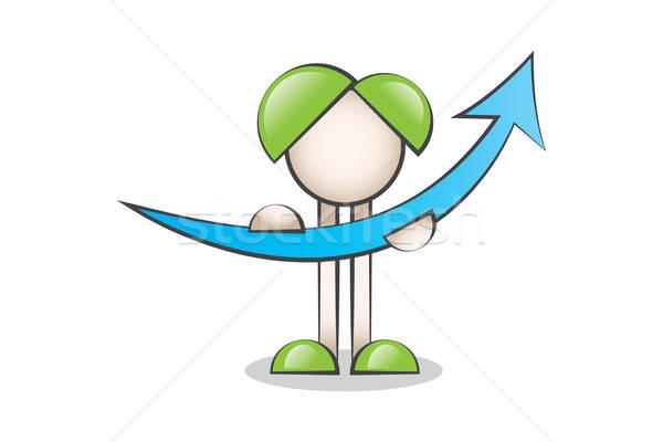 Yukarı Ok ve Çizgi Karakter. Finans Değerlerini Anlatan İş Grafiği Stock photo © alozar