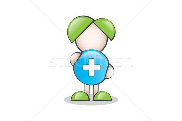 Sağlık Sembolü ve Çizgi Karakter. Sağlıklı yaşam. Stock photo © alozar