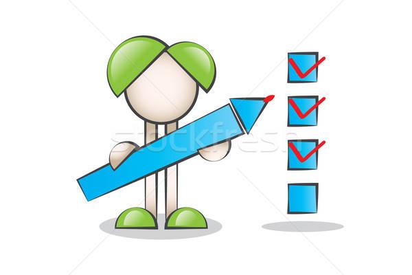 Büyük Kalem tutan Çizgi Karakter ve Check Listesi Sembolü Stock photo © alozar