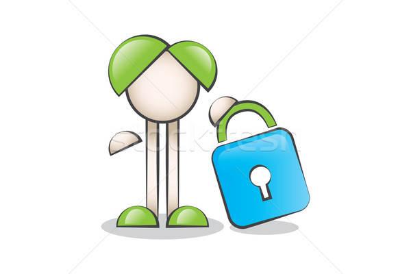 Büyük kilit ve Çizgi Karakter. Güvenlik ve gizlilik. Stock photo © alozar