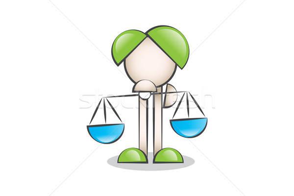 Adalet simgesi terazi ve çizgi karakter. Karar vermek. Stock photo © alozar