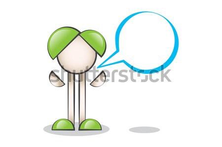 Teknoloji Büyük Mobil Telefon ve Çizgi Karakter Stock photo © alozar