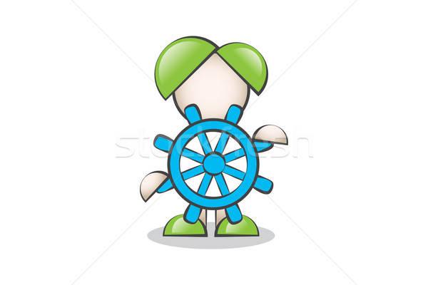 Mavi Dümen ve Çizgi Karakter. Liderlik ve Yol Göstermek. Stock photo © alozar