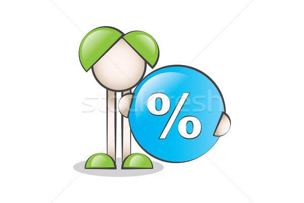 Finansal Simge % İşareti ve Çizgi Karakter  Stock photo © alozar