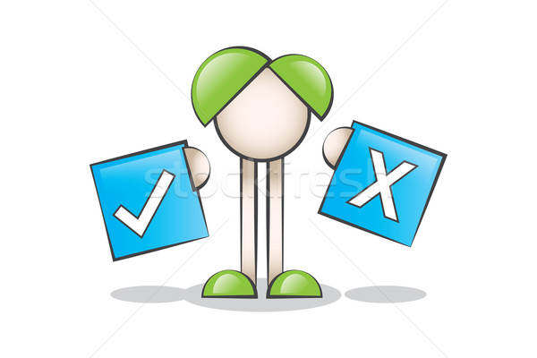 Seçim Yapmak ve Çizgi Karakter. Doğru veya Yanlış Stock photo © alozar