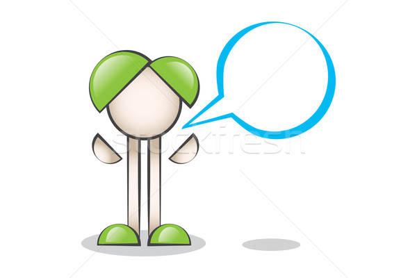 Mavi Konuşma Balonu ve Çizgi Karakter Stock photo © alozar