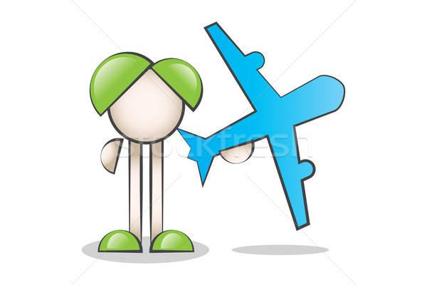Uçak ve Çizgi Karakter. Seyahat etmek ve turizm. Stock photo © alozar