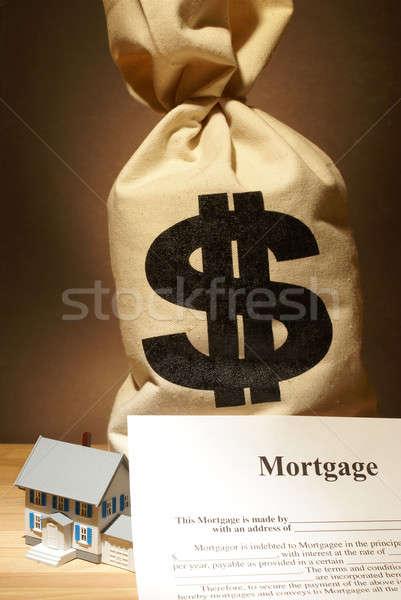 Foto stock: Hipoteca · despesas · saco · dinheiro · custo · habitação
