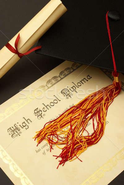 Lise diploma Öğrenciler siyah çalışma mezuniyet Stok fotoğraf © AlphaBaby