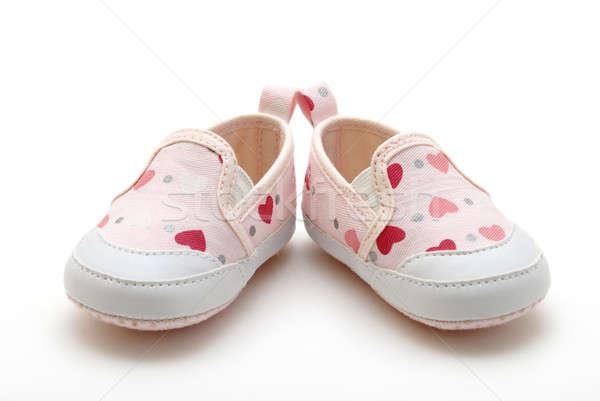 Lánycsecsemők cipők pár fehér baba gyermek Stock fotó © AlphaBaby