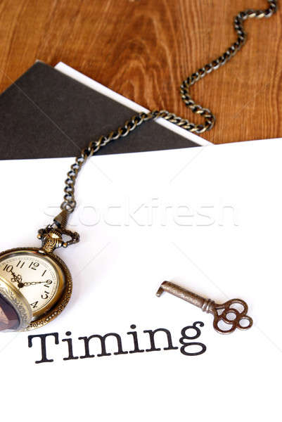 Stockfoto: Timing · beheer · papier · klok · tijd · goud