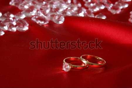 Gyémántok választék pezsgő piros szatén divat Stock fotó © AlphaBaby
