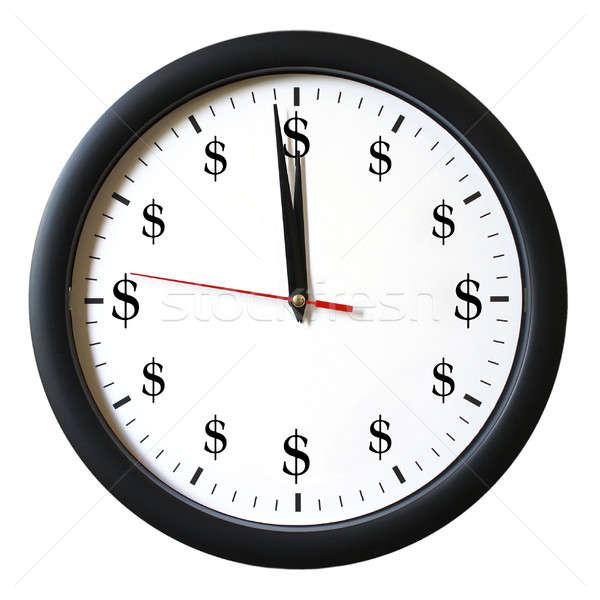 Az idő pénz izolált óra üzlet felirat idő Stock fotó © AlphaBaby