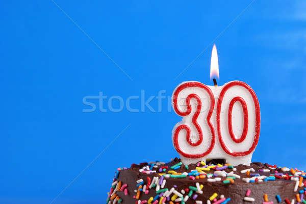 Otuz yıl numara mum kutlama Stok fotoğraf © AlphaBaby