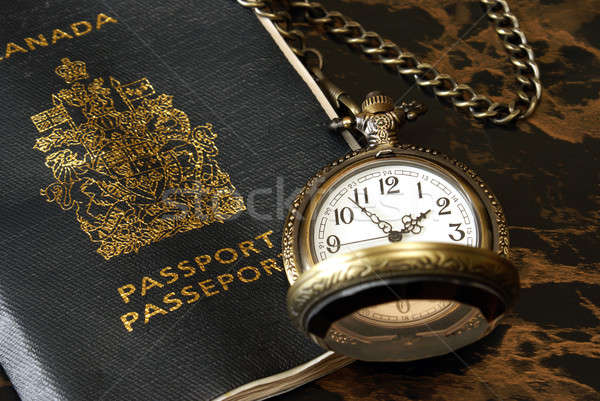 Internationaux Voyage voyageur passeport montre de poche prêt Photo stock © AlphaBaby