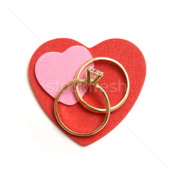 Szimbólum szeretet elkötelezettség házasság esküvő pár Stock fotó © AlphaBaby