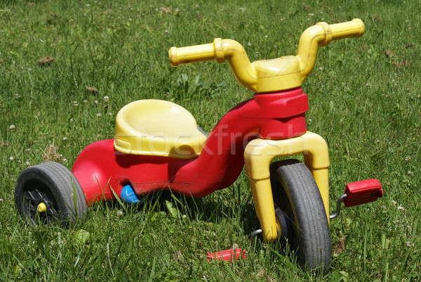 çocuklar üç tekerlekli bisiklet atış çimenli çim Stok fotoğraf © AlphaBaby