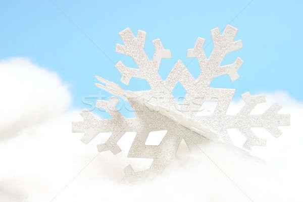 снежинка белый орнамент синий текстуры снега Сток-фото © AlphaBaby