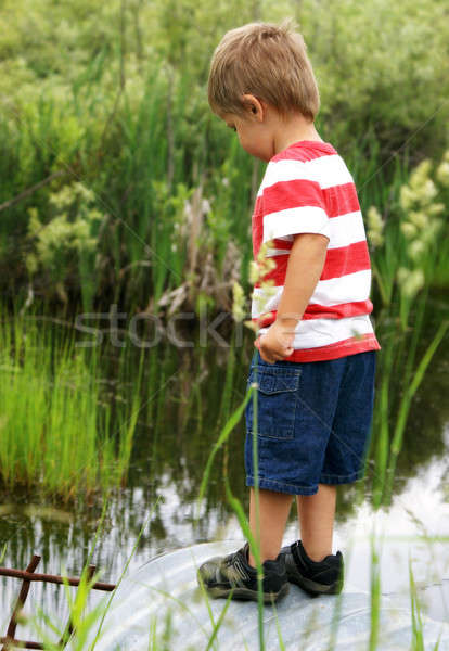 Boldog kétéves fiú szikrák keres víz Stock fotó © AlphaBaby