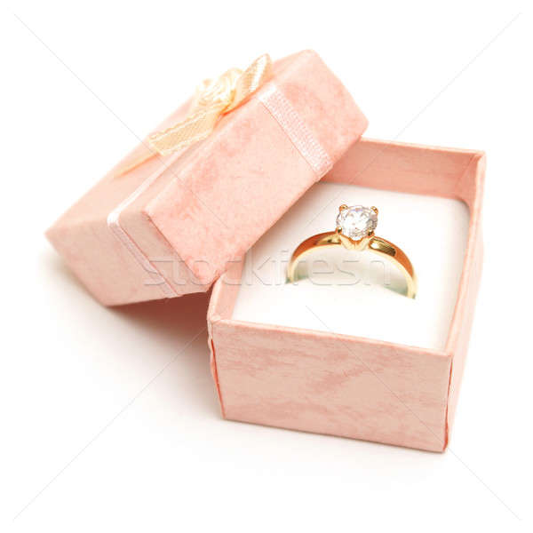 Bague en diamant belle rose bijoux boîte femme Photo stock © AlphaBaby
