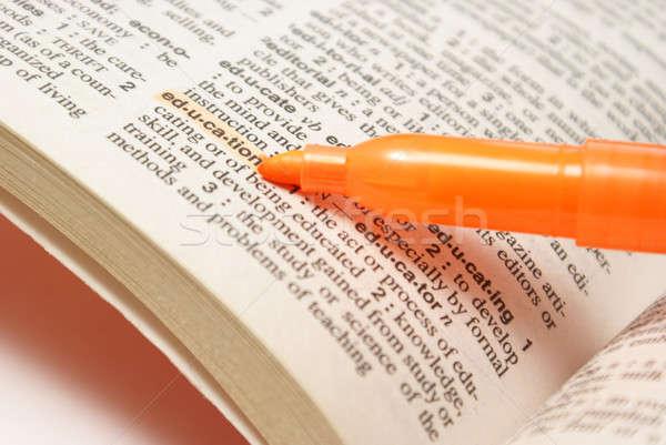 Istruzione definizione macro shot parola dizionario Foto d'archivio © AlphaBaby