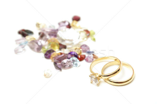 Gold Rings with Gemstones Stock photo © AlphaBaby