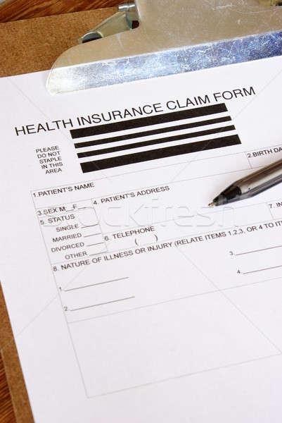 Egészségbiztosítás követelés űrlap közelkép üzlet pénz Stock fotó © AlphaBaby