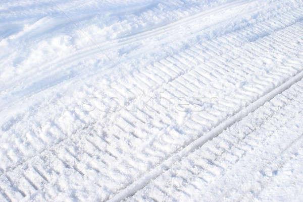 Winter Snowmobile Tracks Stock photo © AlphaBaby