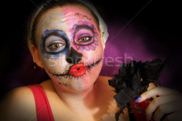Schedel snoep vrouw make dag dode Stockfoto © AlphaBaby