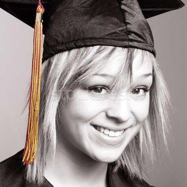 Diák gyönyörű fiatal nő boldog iskola értelem Stock fotó © AlphaBaby